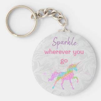 Llavero básico del botón - unicornio