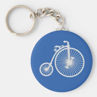 Llavero Bicicleta blanca del vintage en azul