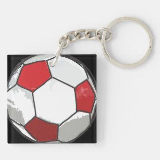 Llavero Bosquejo rojo del balón de fútbol