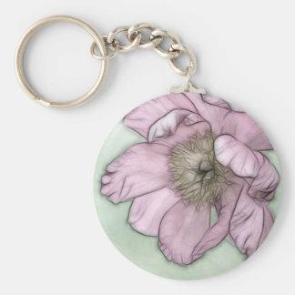 Llavero Bosquejo rosado de la flor del Peony