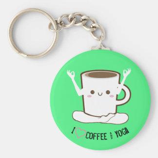 Llavero Café y yoga del ❤ I