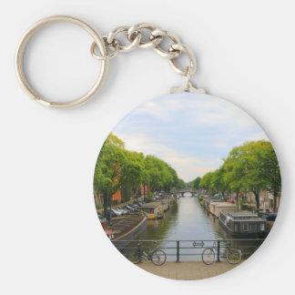 Llavero Canal, puentes, bicis, barcos, Amsterdam, Holanda