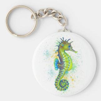 Llavero Chapoteo del Seahorse del verde amarillo