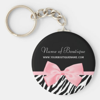 Llavero Cinta rosada verdadera del estampado de zebra de