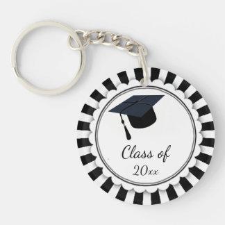 Llavero Clase blanco y negro de graduación