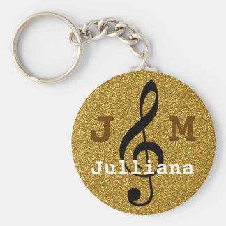 Llavero clef agudo personalizado de la música de oro