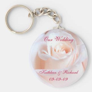 Llavero color de rosa romántico del boda