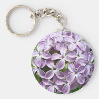 llavero con la foto de lilas púrpuras hermosas