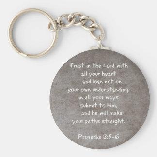 Llavero Confíe en en el señor con todos sus proverbios 3