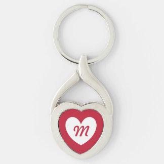 Llavero Corazón blanco del monograma en rojo