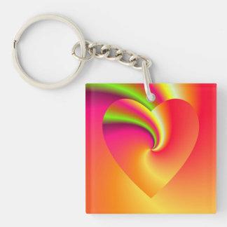 Llavero Corazón del amor del remolino del arco iris