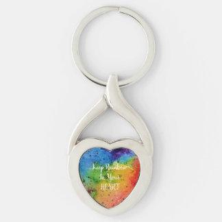 Llavero Corazón lindo del arco iris de la acuarela