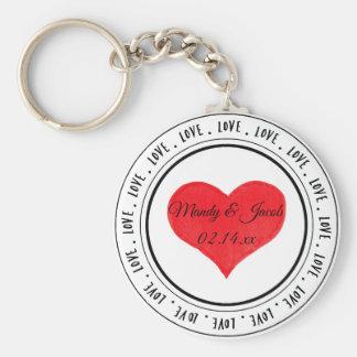 Llavero Corazón rojo del arte de la palabra del amor