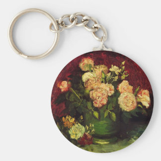 Llavero Cuenco de Van Gogh con los Peonies y los rosas,