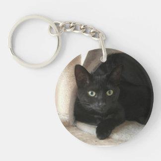Llavero de doble cara del gato negro