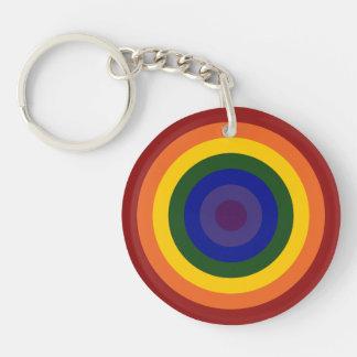 Llavero de la diana del arco iris llavero redondo acrílico a doble cara