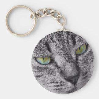 Llavero de ojos verdes del gato de tabby