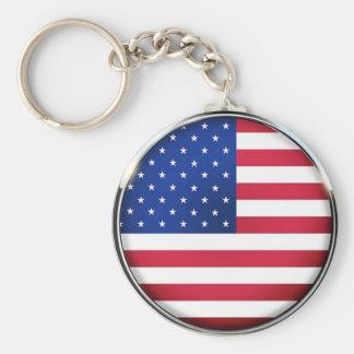 Llavero del botón de la bandera de los E.E.U.U.