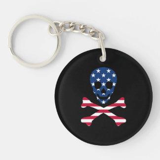 Llavero ~ del cráneo y de la bandera pirata patriótico