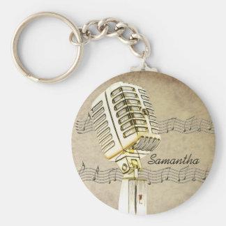 Llavero del diseño del micrófono del vintage