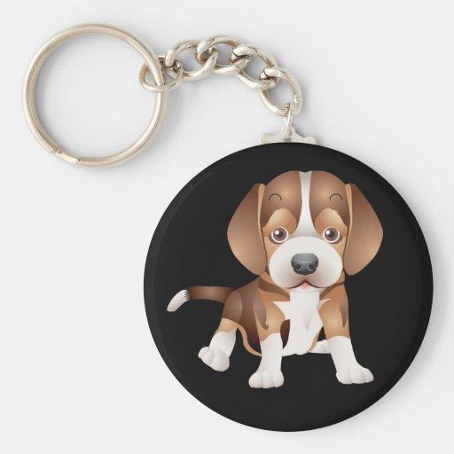 Llavero del negro del perro de perrito del beagle