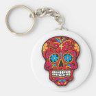 Llavero Día mexicano rojo del cráneo del azúcar de los