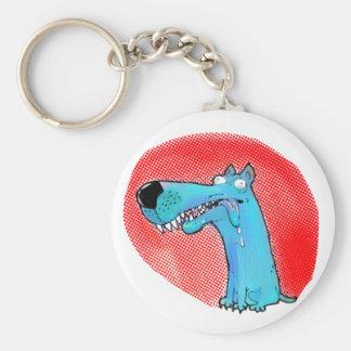 Llavero dibujo animado divertido del perro estúpido loco