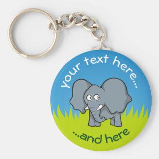 Llavero Dibujo animado gris del elefante