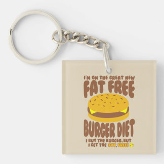 Llavero Dieta sin grasa de la hamburguesa
