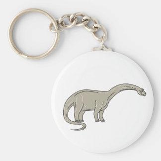 Llavero Dinosaurio del Brontosaurus que mira abajo de mono