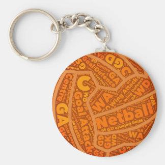 Llavero Diseño anaranjado temático de la bola del Netball