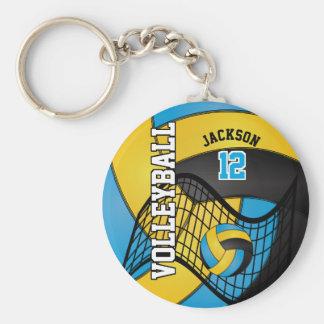 Llavero Diseño azul, amarillo y negro del voleibol