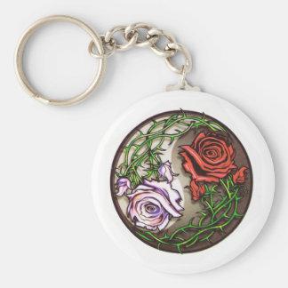 Llavero Diseño color de rosa del tatuaje del yingyang
