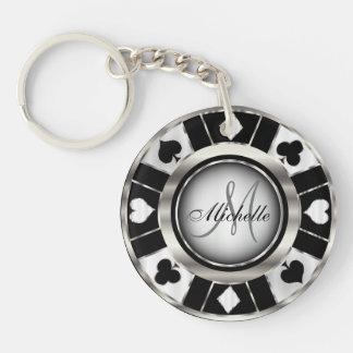 Llavero Diseño de ficha de póker de plata y negro -