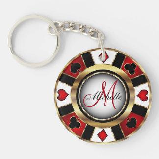 Llavero Diseño de ficha de póker del oro - monograma