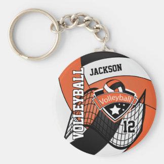 Llavero Diseño del naranja, negro y blanco del voleibol