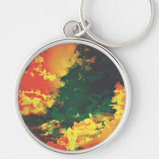 Llavero Diseño digital del arte del extracto rojo amarillo