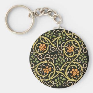 Llavero Diseño floral negro de la impresión del arte de