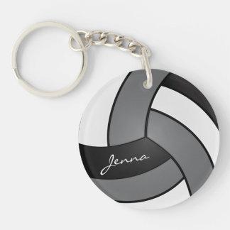 Llavero Diseño gris, blanco y negro del voleibol