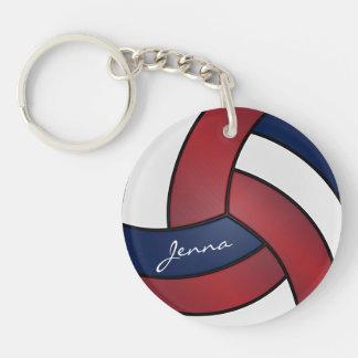 Llavero Diseño rojo oscuro, azul y blanco del voleibol