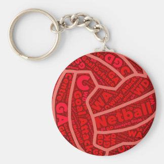 Llavero Diseño rojo temático de la bola de la tipografía