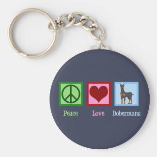 Llavero Dobermans del amor de la paz