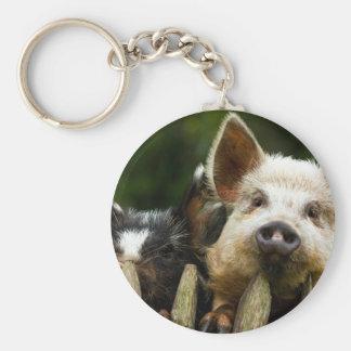 Llavero Dos cerdos - granja de cerdo - granjas del cerdo