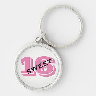Llavero Dulce dulce rosado dieciséis de 16 cumpleaños