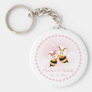 Llavero El banquete de boda lindo de los pares de la abeja