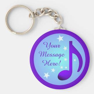Llavero El círculo azul de la nota púrpura de la música