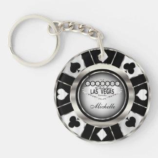 Llavero El diseño de ficha de póker de plata y negro -