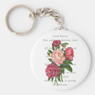 Llavero El Peony del vintage florece el poema romántico de