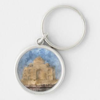 Llavero El Taj Mahal en Agra la India - acuarela del arte