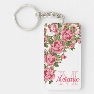 Llavero El vintage se ruboriza los Peonies rosados nombre,